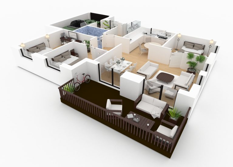 3d,Rendering,Of,Furnished,Home,Apartment